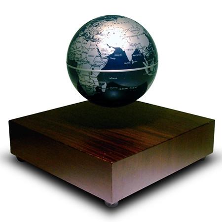 Globe terre flottant base en bois