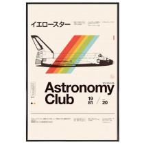 Astro club - Affiche Juniqe avec cadre noir