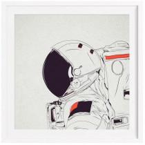 Astro White - Affiche Juniqe avec cadre blanc