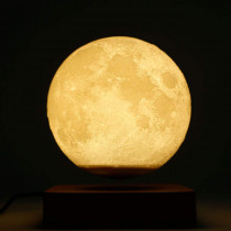 MoonFlight – Globe Lune 3D lumineux sur base bois clair en lévitation