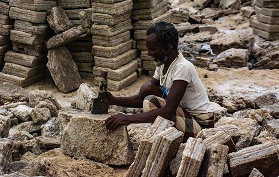 visite des travailleurs du sel en Ethiopie